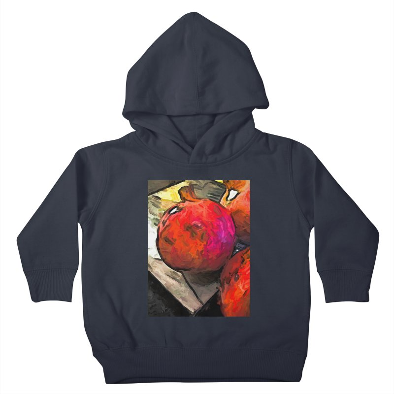 The Red Pomegranates on the Marble Chopping Board Kids Toddler Pullover Hoody by jackievano's Artist Shop