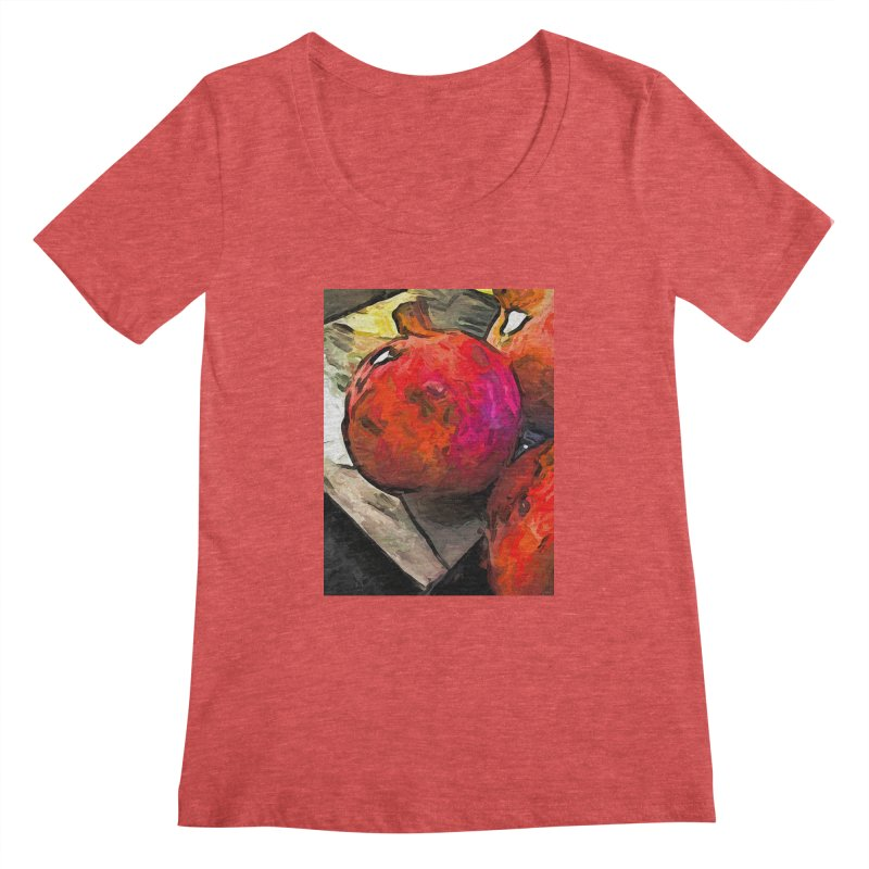 The Red Pomegranates on the Marble Chopping Board Women's Scoopneck by jackievano's Artist Shop