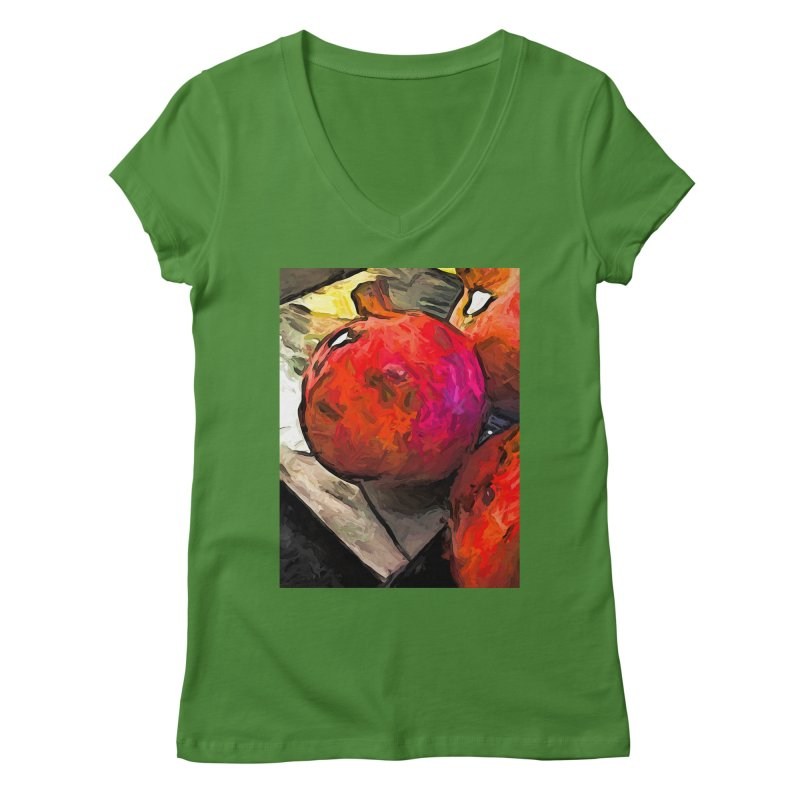 The Red Pomegranates on the Marble Chopping Board Women's V-Neck by jackievano's Artist Shop