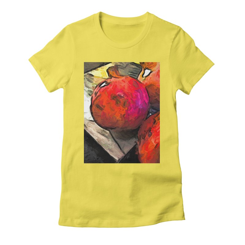 The Red Pomegranates on the Marble Chopping Board Women's Fitted T-Shirt by jackievano's Artist Shop