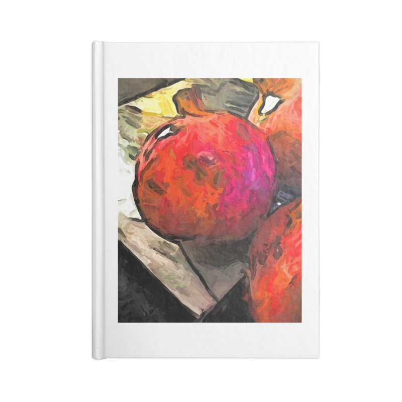 The Red Pomegranates on the Marble Chopping Board Accessories Notebook by jackievano's Artist Shop