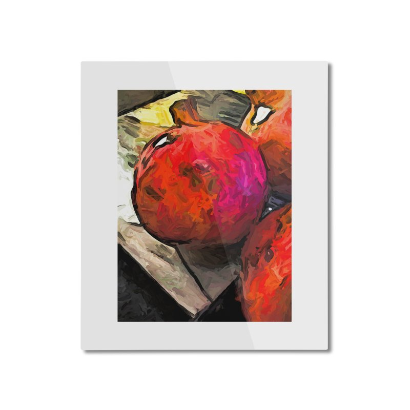 The Red Pomegranates on the Marble Chopping Board Home Mounted Aluminum Print by jackievano's Artist Shop