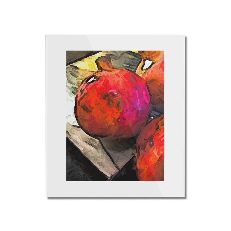 The Red Pomegranates on the Marble Chopping Board Home Mounted Acrylic Print by jackievano's Artist Shop