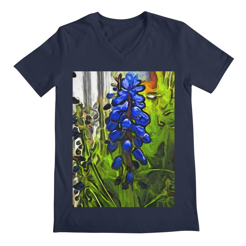 The Cobalt Blue Flowers and the Long Green Grass Men's V-Neck by jackievano's Artist Shop
