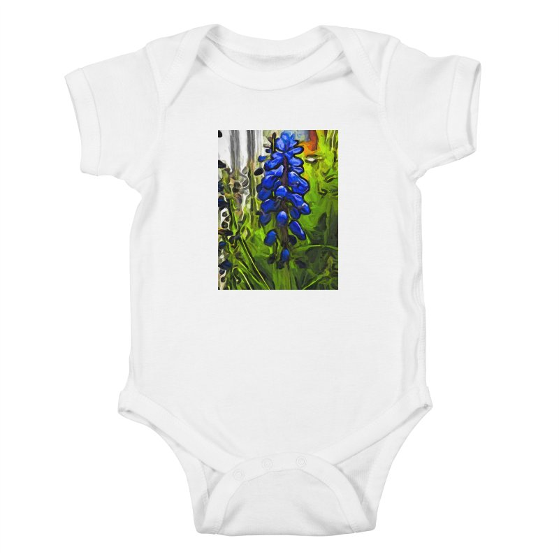 The Cobalt Blue Flowers and the Long Green Grass Kids Baby Bodysuit by jackievano's Artist Shop