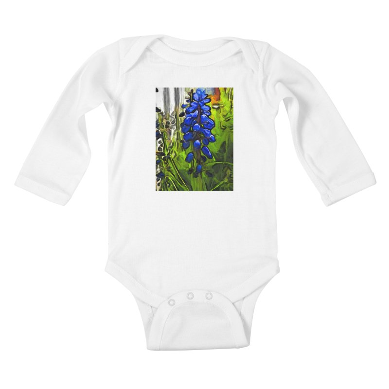 The Cobalt Blue Flowers and the Long Green Grass Kids Baby Longsleeve Bodysuit by jackievano's Artist Shop