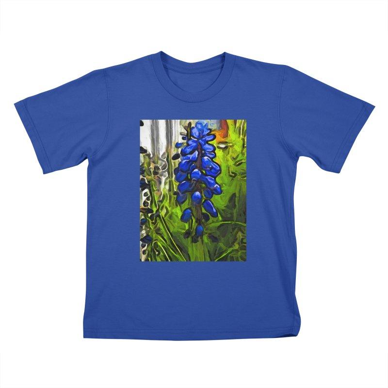 The Cobalt Blue Flowers and the Long Green Grass Kids T-Shirt by jackievano's Artist Shop