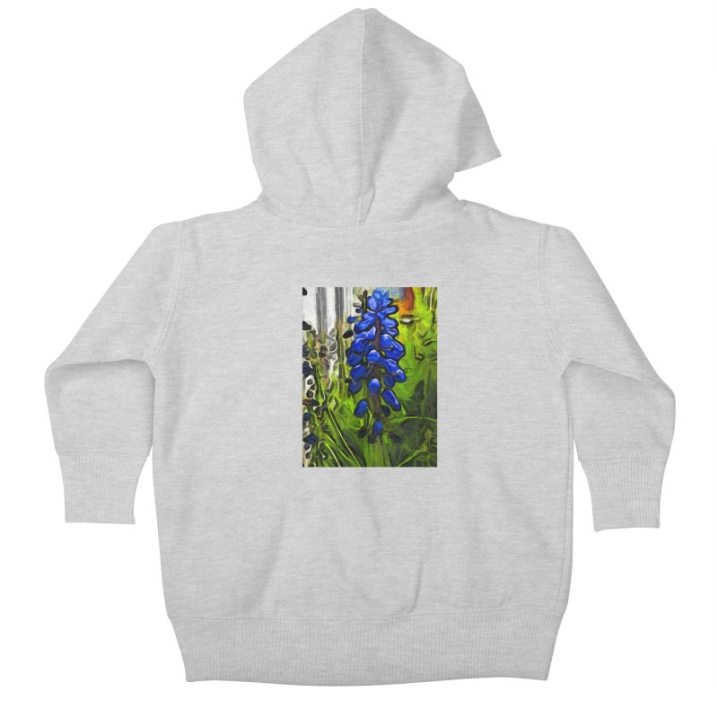 The Cobalt Blue Flowers and the Long Green Grass Kids Baby Zip-Up Hoody by jackievano's Artist Shop