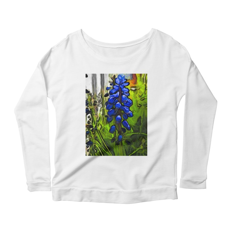 The Cobalt Blue Flowers and the Long Green Grass Women's Longsleeve Scoopneck  by jackievano's Artist Shop