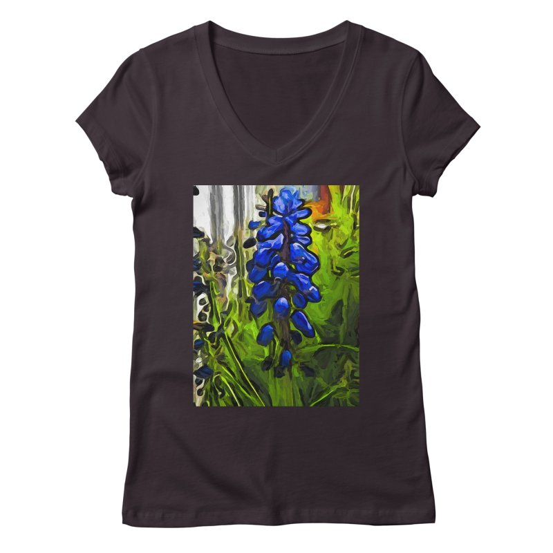 The Cobalt Blue Flowers and the Long Green Grass Women's V-Neck by jackievano's Artist Shop