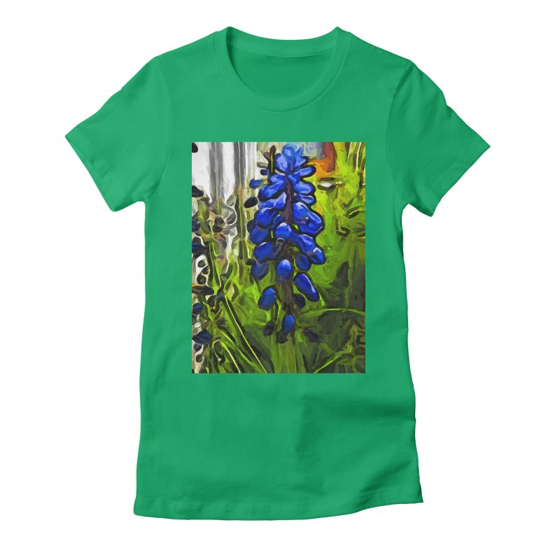 The Cobalt Blue Flowers and the Long Green Grass Women's Fitted T-Shirt by jackievano's Artist Shop