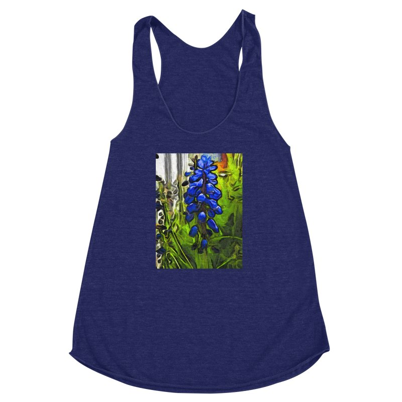 The Cobalt Blue Flowers and the Long Green Grass Women's Racerback Triblend Tank by jackievano's Artist Shop