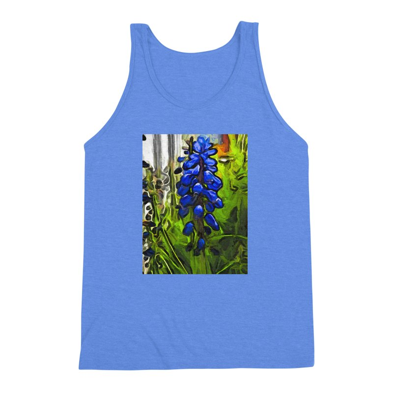 The Cobalt Blue Flowers and the Long Green Grass Men's Triblend Tank by jackievano's Artist Shop
