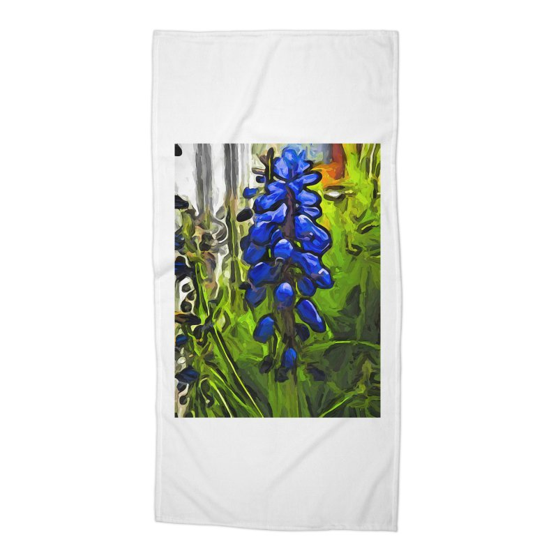 The Cobalt Blue Flowers and the Long Green Grass Accessories Beach Towel by jackievano's Artist Shop