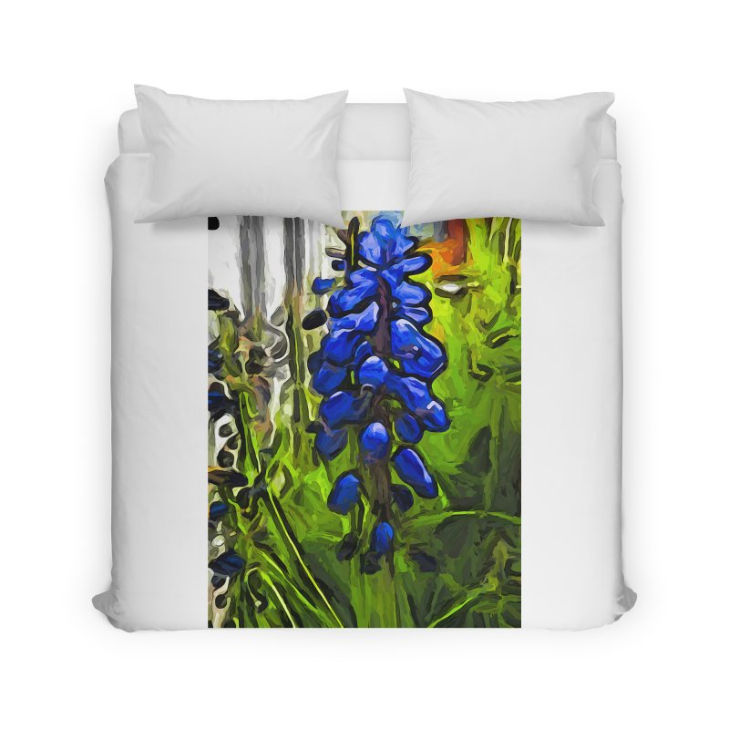 The Cobalt Blue Flowers and the Long Green Grass Home Duvet by jackievano's Artist Shop