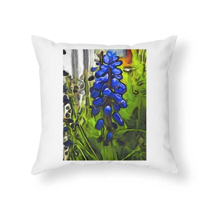 The Cobalt Blue Flowers and the Long Green Grass Home Throw Pillow by jackievano's Artist Shop