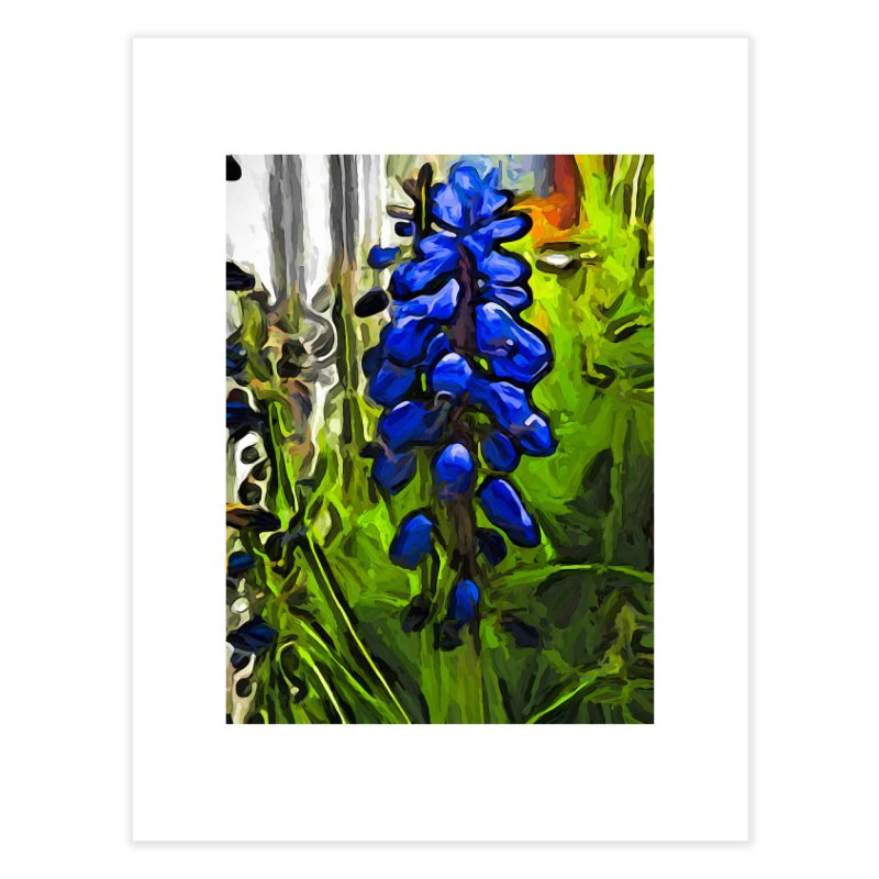The Cobalt Blue Flowers and the Long Green Grass Home Fine Art Print by jackievano's Artist Shop