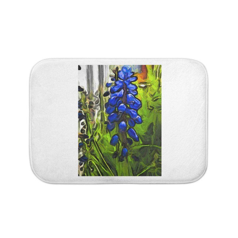 The Cobalt Blue Flowers and the Long Green Grass Home Bath Mat by jackievano's Artist Shop