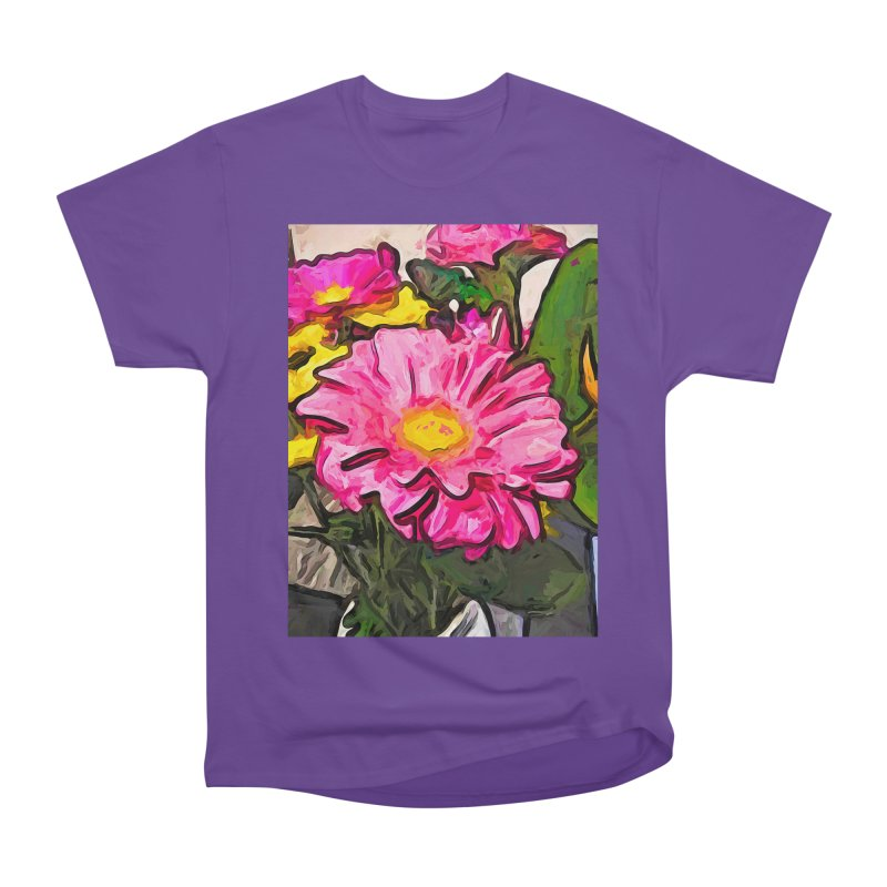 The Pink and Yellow Flowers with the Big Green Leaves Men's Classic T-Shirt by jackievano's Artist Shop