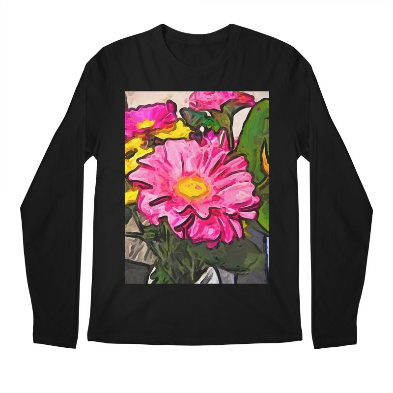 The Pink and Yellow Flowers with the Big Green Leaves Men's Longsleeve T-Shirt by jackievano's Artist Shop
