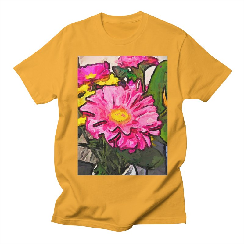 The Pink and Yellow Flowers with the Big Green Leaves Men's T-Shirt by jackievano's Artist Shop