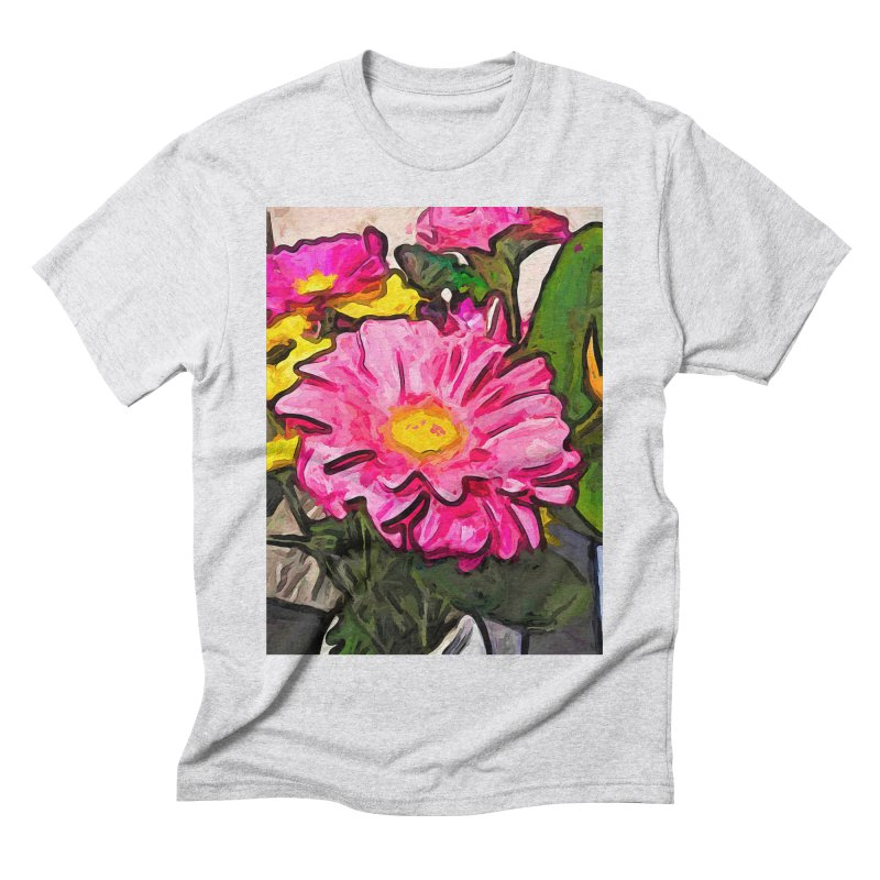 The Pink and Yellow Flowers with the Big Green Leaves Men's Triblend T-Shirt by jackievano's Artist Shop