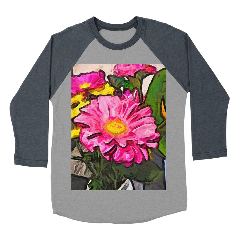 The Pink and Yellow Flowers with the Big Green Leaves Men's Baseball Triblend T-Shirt by jackievano's Artist Shop