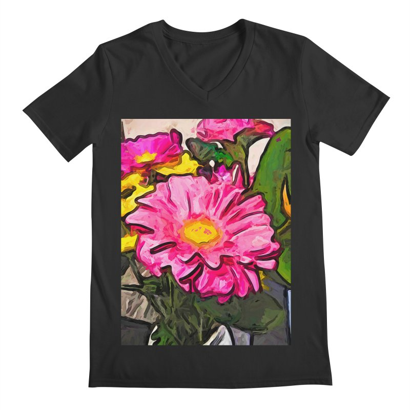 The Pink and Yellow Flowers with the Big Green Leaves Men's V-Neck by jackievano's Artist Shop