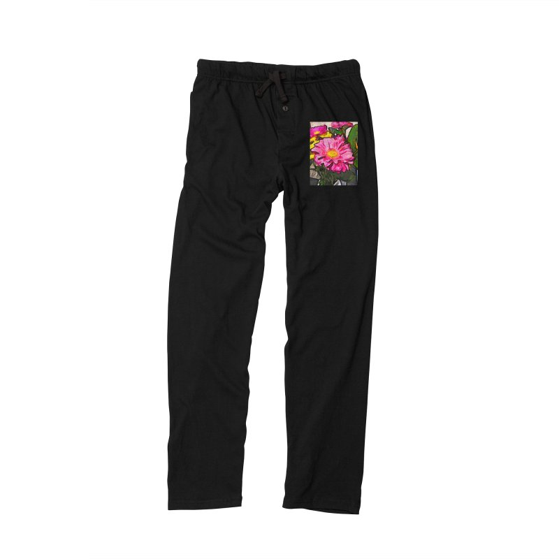 The Pink and Yellow Flowers with the Big Green Leaves Women's Lounge Pants by jackievano's Artist Shop