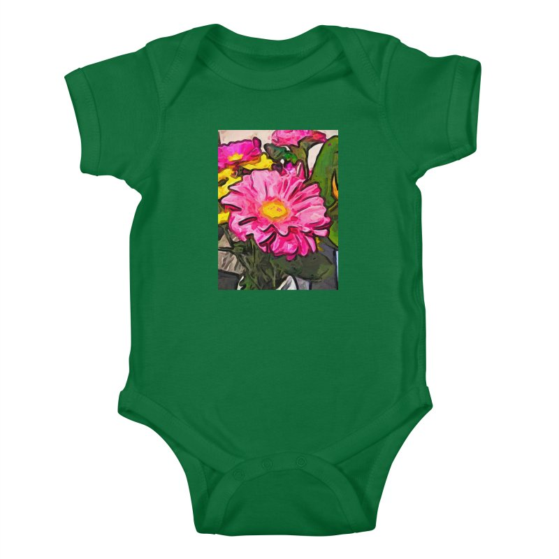 The Pink and Yellow Flowers with the Big Green Leaves Kids Baby Bodysuit by jackievano's Artist Shop