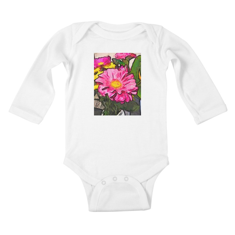 The Pink and Yellow Flowers with the Big Green Leaves Kids Baby Longsleeve Bodysuit by jackievano's Artist Shop