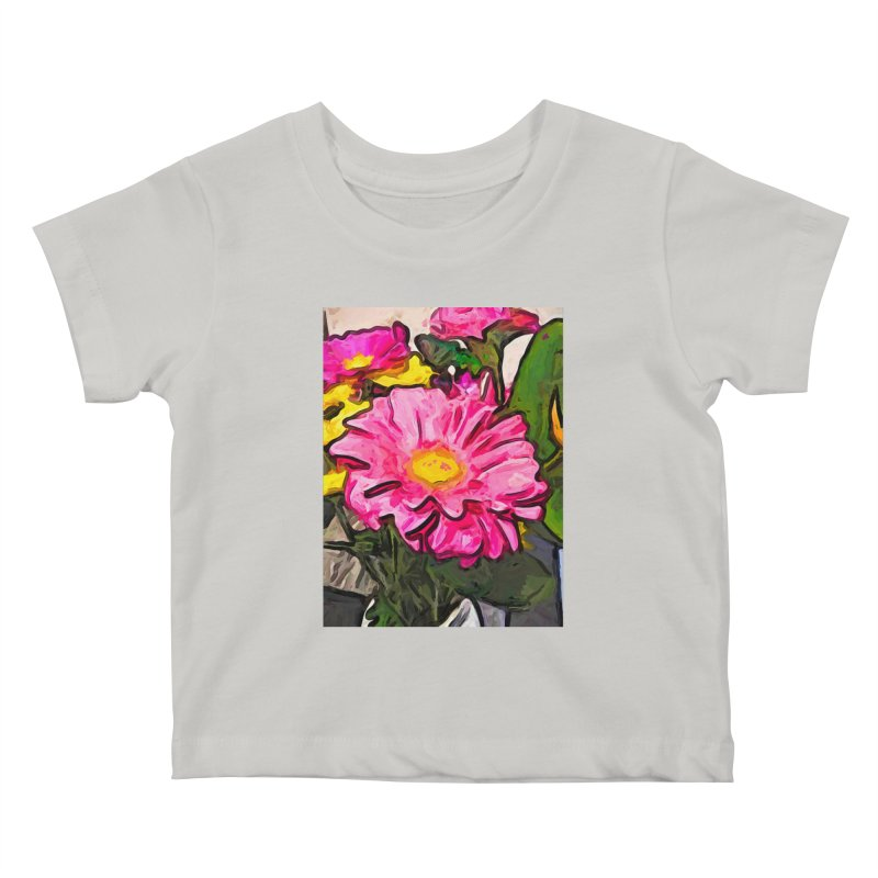 The Pink and Yellow Flowers with the Big Green Leaves Kids Baby T-Shirt by jackievano's Artist Shop