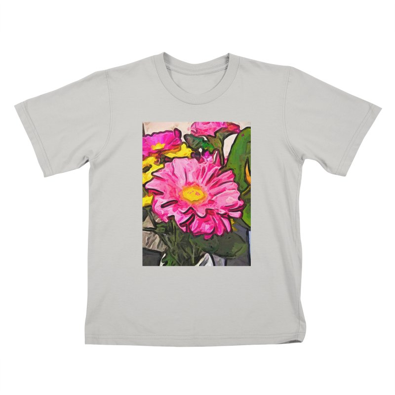 The Pink and Yellow Flowers with the Big Green Leaves Kids T-Shirt by jackievano's Artist Shop