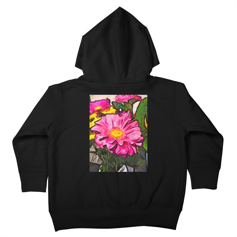 The Pink and Yellow Flowers with the Big Green Leaves Kids Toddler Zip-Up Hoody by jackievano's Artist Shop