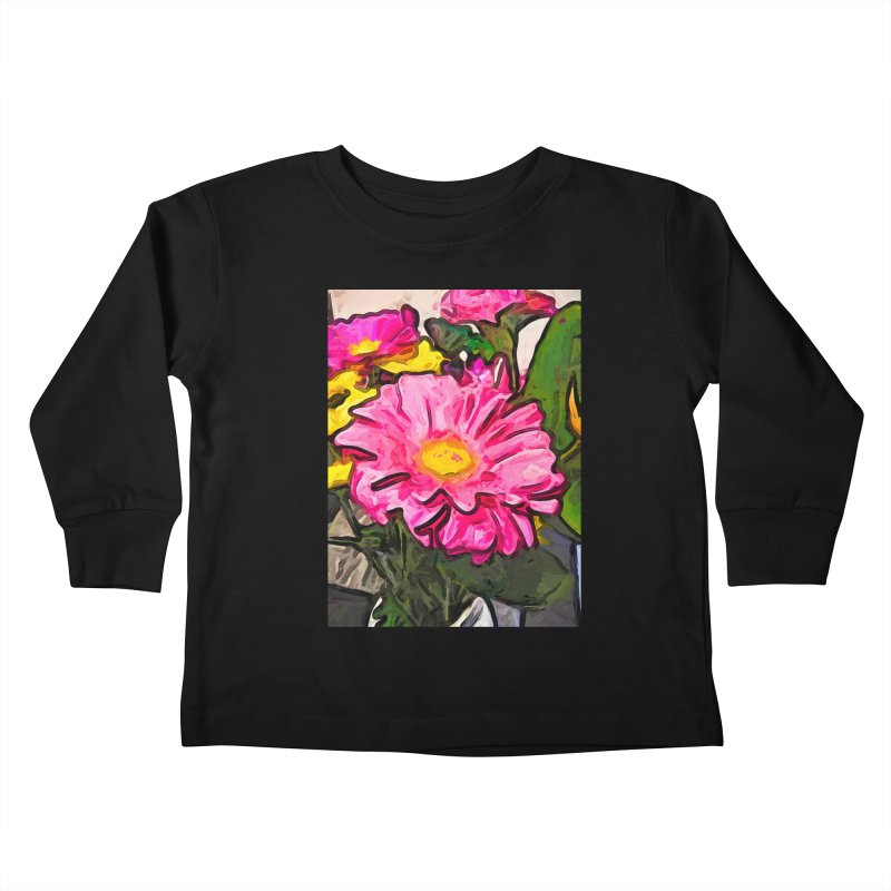 The Pink and Yellow Flowers with the Big Green Leaves Kids Toddler Longsleeve T-Shirt by jackievano's Artist Shop