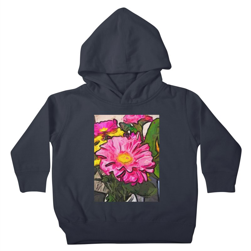The Pink and Yellow Flowers with the Big Green Leaves Kids Toddler Pullover Hoody by jackievano's Artist Shop