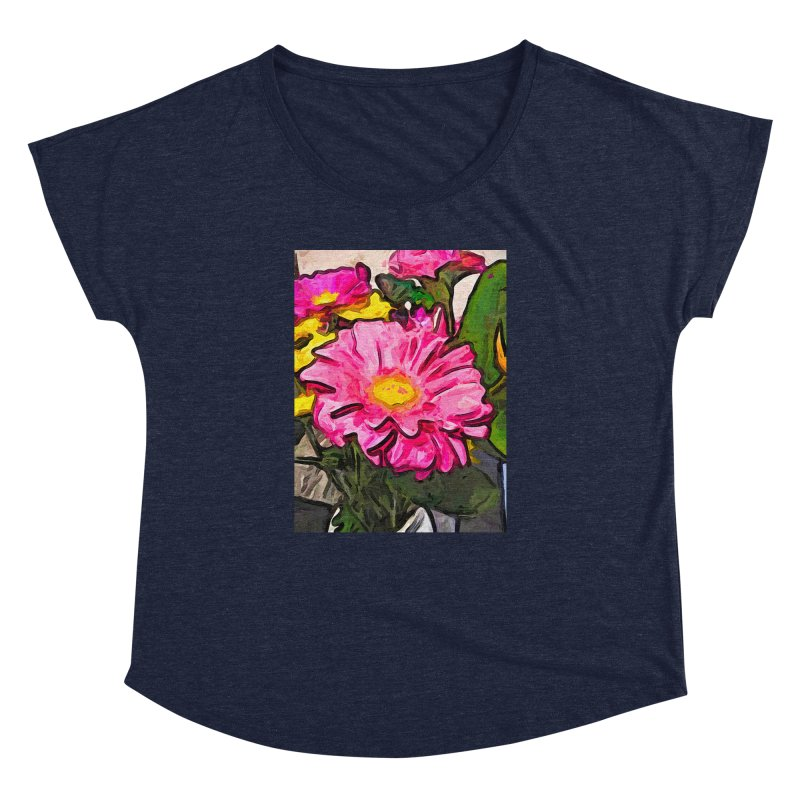 The Pink and Yellow Flowers with the Big Green Leaves Women's Dolman by jackievano's Artist Shop