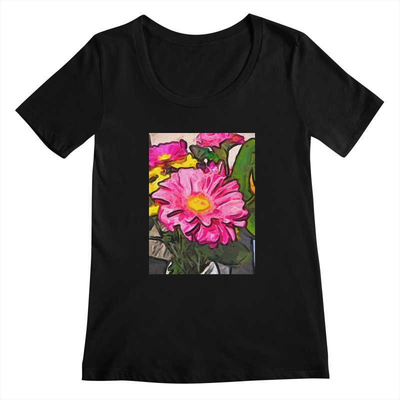 The Pink and Yellow Flowers with the Big Green Leaves Women's Scoopneck by jackievano's Artist Shop