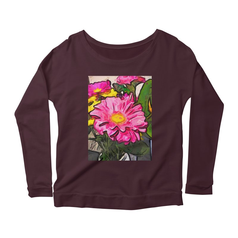 The Pink and Yellow Flowers with the Big Green Leaves Women's Longsleeve Scoopneck  by jackievano's Artist Shop