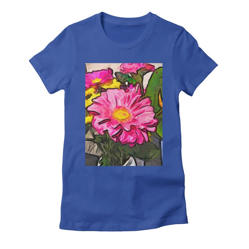 The Pink and Yellow Flowers with the Big Green Leaves Women's Fitted T-Shirt by jackievano's Artist Shop