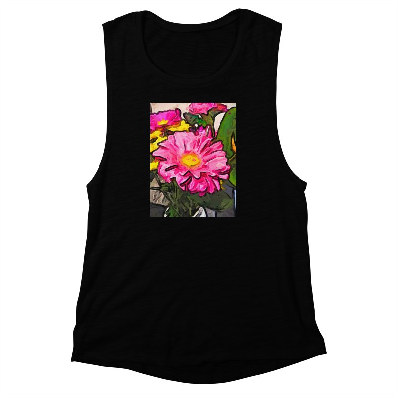 The Pink and Yellow Flowers with the Big Green Leaves Women's Muscle Tank by jackievano's Artist Shop