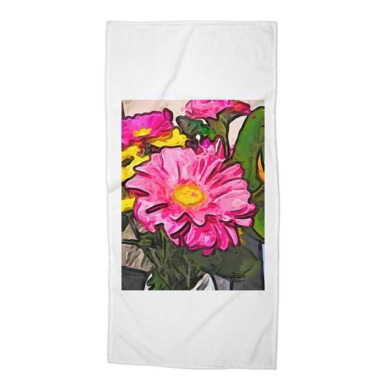 The Pink and Yellow Flowers with the Big Green Leaves Accessories Beach Towel by jackievano's Artist Shop