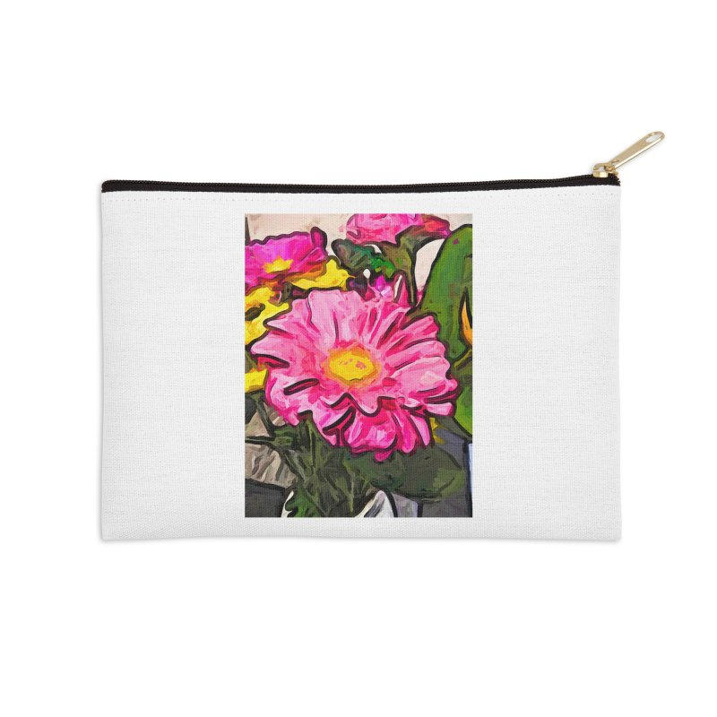 The Pink and Yellow Flowers with the Big Green Leaves Accessories Zip Pouch by jackievano's Artist Shop