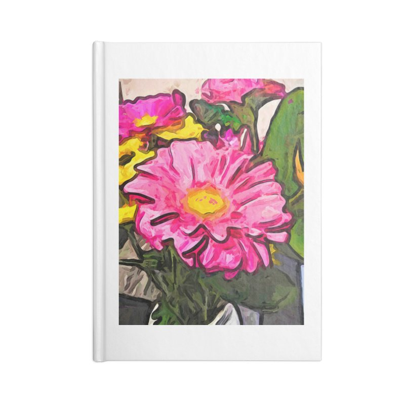 The Pink and Yellow Flowers with the Big Green Leaves Accessories Notebook by jackievano's Artist Shop