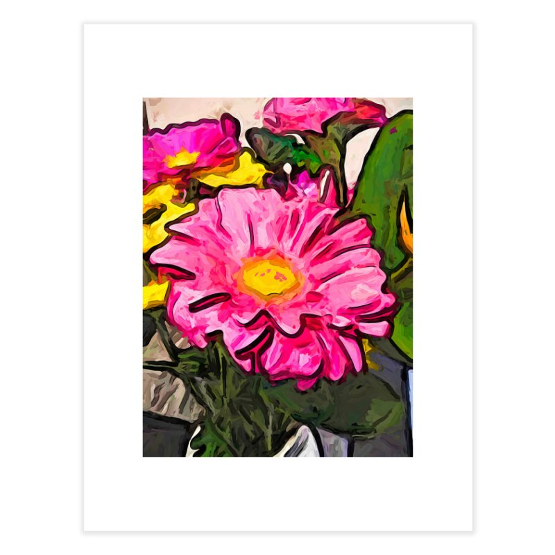 The Pink and Yellow Flowers with the Big Green Leaves Home Fine Art Print by jackievano's Artist Shop