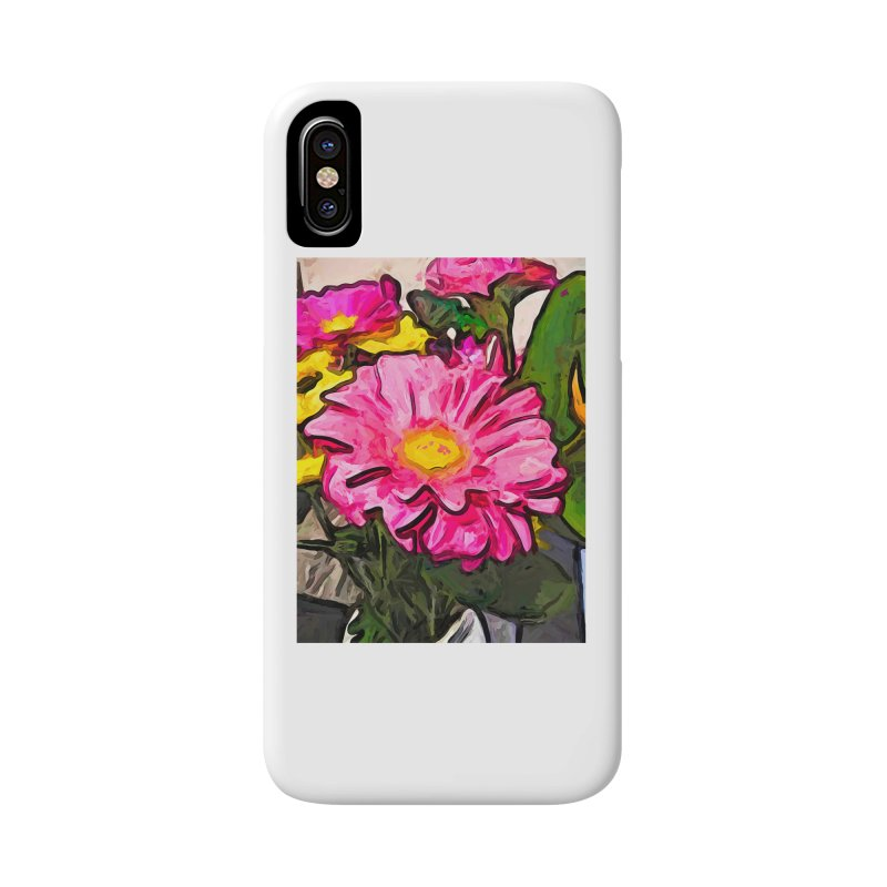 The Pink and Yellow Flowers with the Big Green Leaves Accessories Phone Case by jackievano's Artist Shop