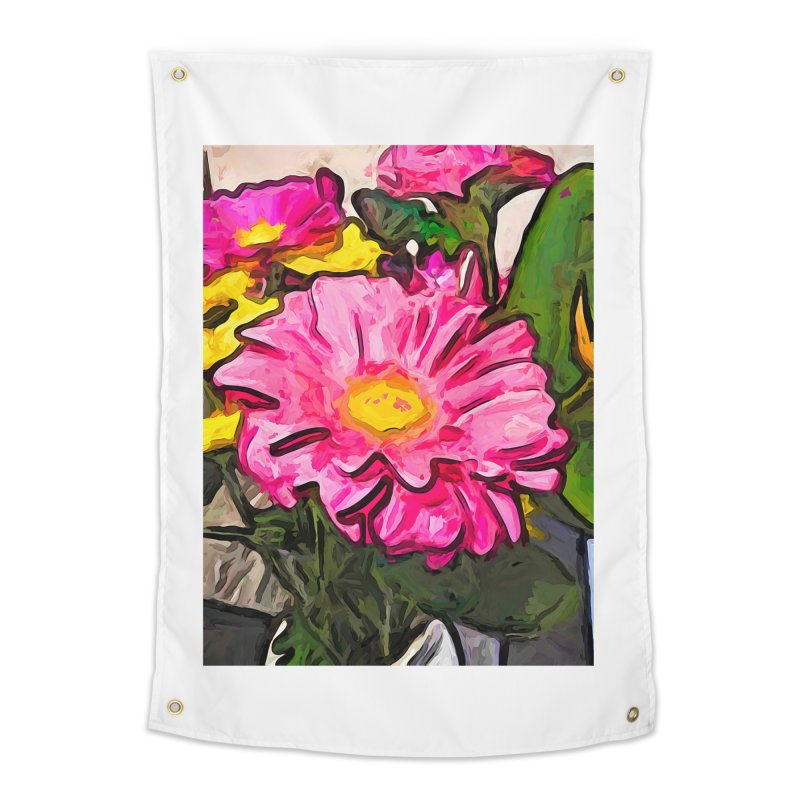 The Pink and Yellow Flowers with the Big Green Leaves Home Tapestry by jackievano's Artist Shop