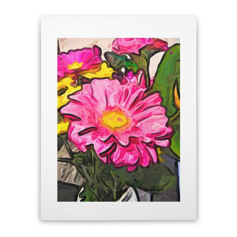 The Pink and Yellow Flowers with the Big Green Leaves Home Stretched Canvas by jackievano's Artist Shop