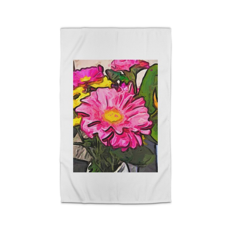 The Pink and Yellow Flowers with the Big Green Leaves Home Rug by jackievano's Artist Shop