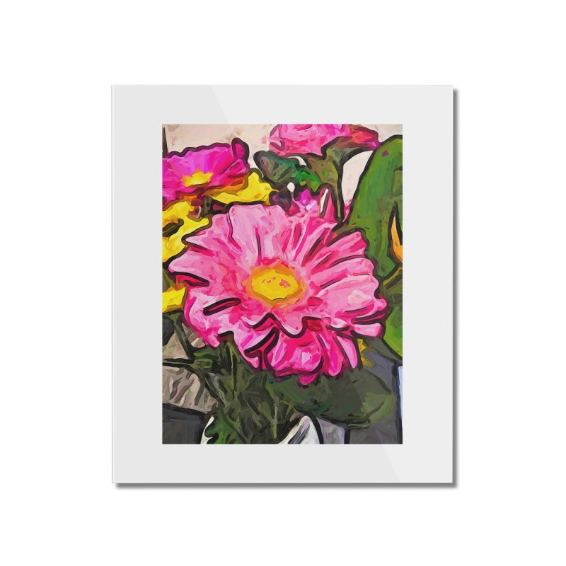 The Pink and Yellow Flowers with the Big Green Leaves Home Mounted Acrylic Print by jackievano's Artist Shop